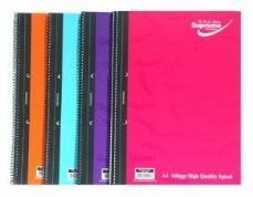 SUPREME A4 160PG SPIRAL NOTEBOOK BRIGHT COLOURS